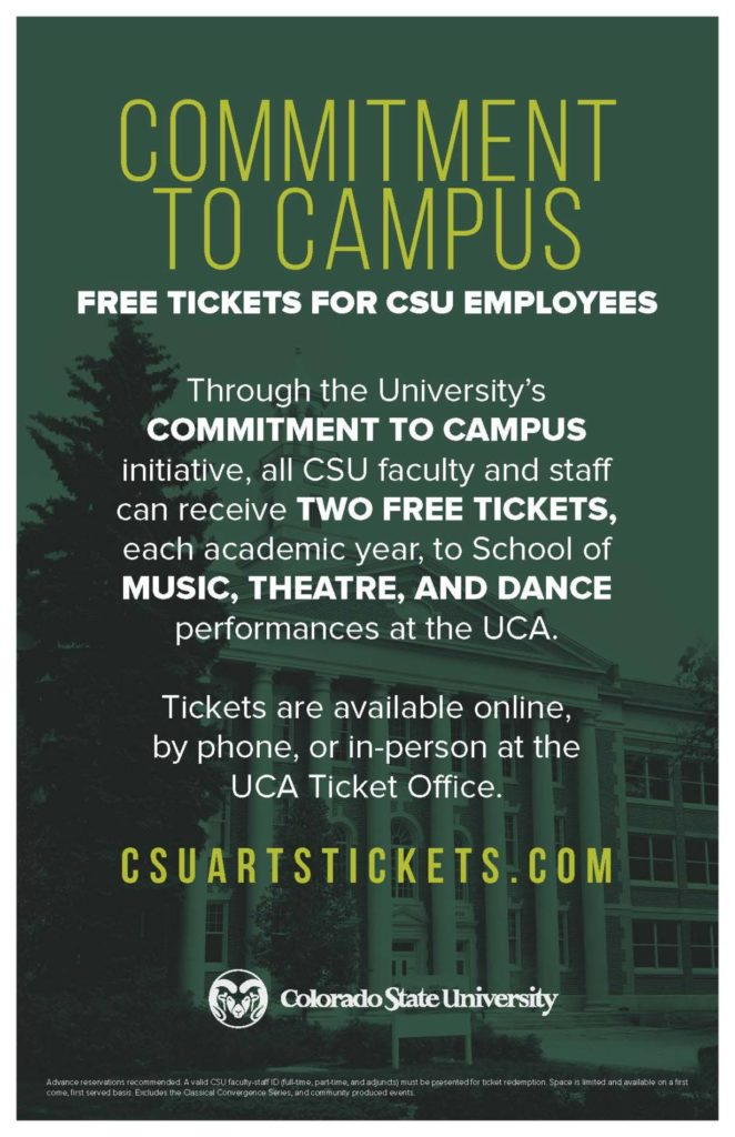 CSU tickets to the arts promotional flyer